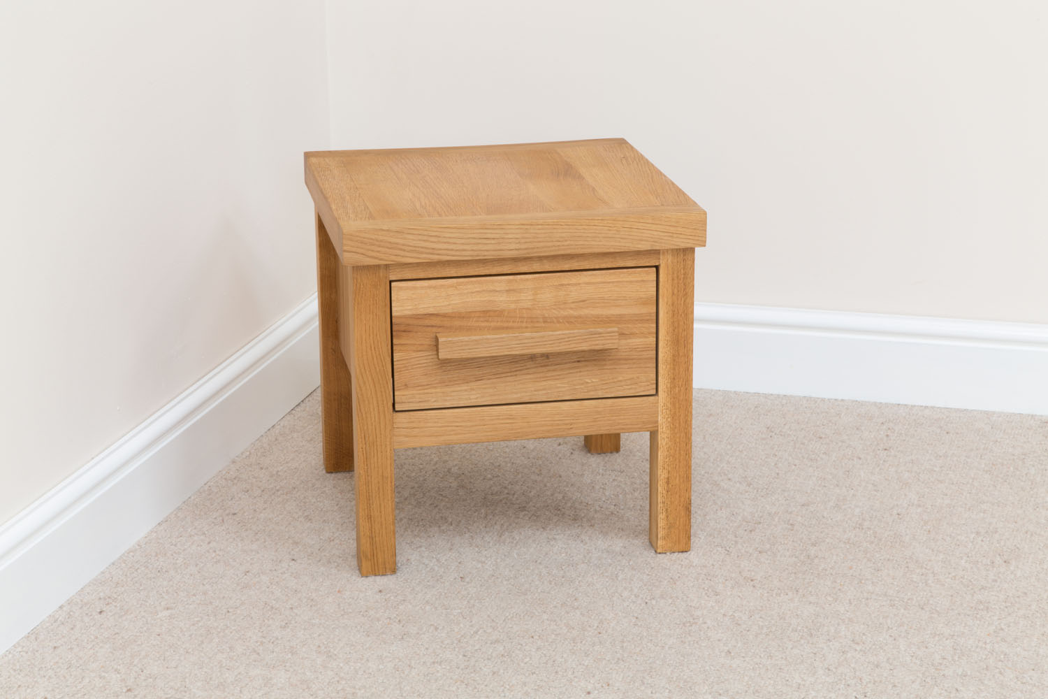 Baltic 40cm square small oak lamp table with drawer small lamp table aloadofball Image collections