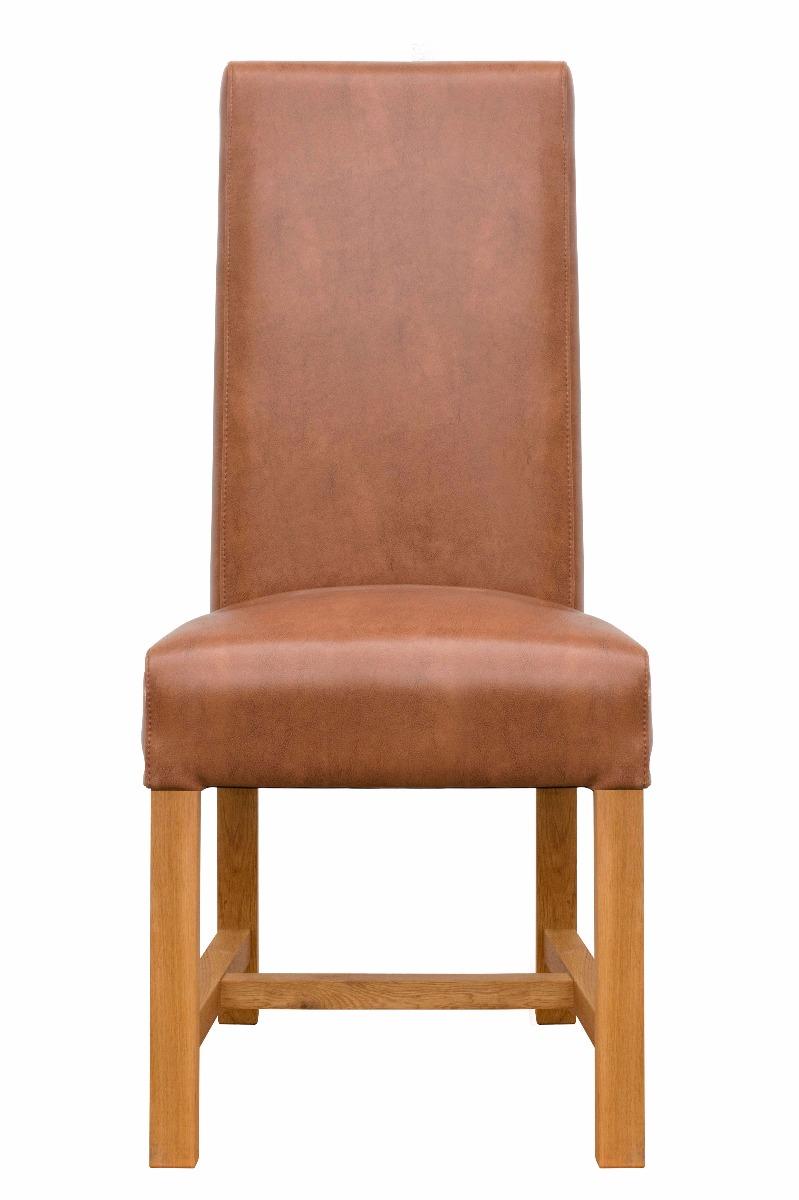 Buffalo tan brown chunky premium leather dining chair solid oak legs