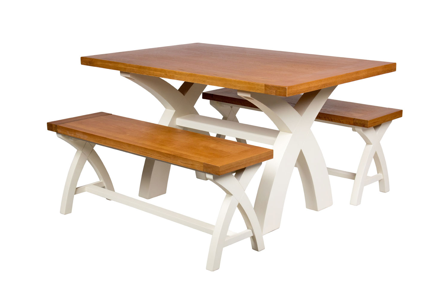 Swell Country Oak 140Cm Cream Painted Cross Leg Table 2 120Cm Cross Leg Cream Bench Set Black Friday Sale Dailytribune Chair Design For Home Dailytribuneorg
