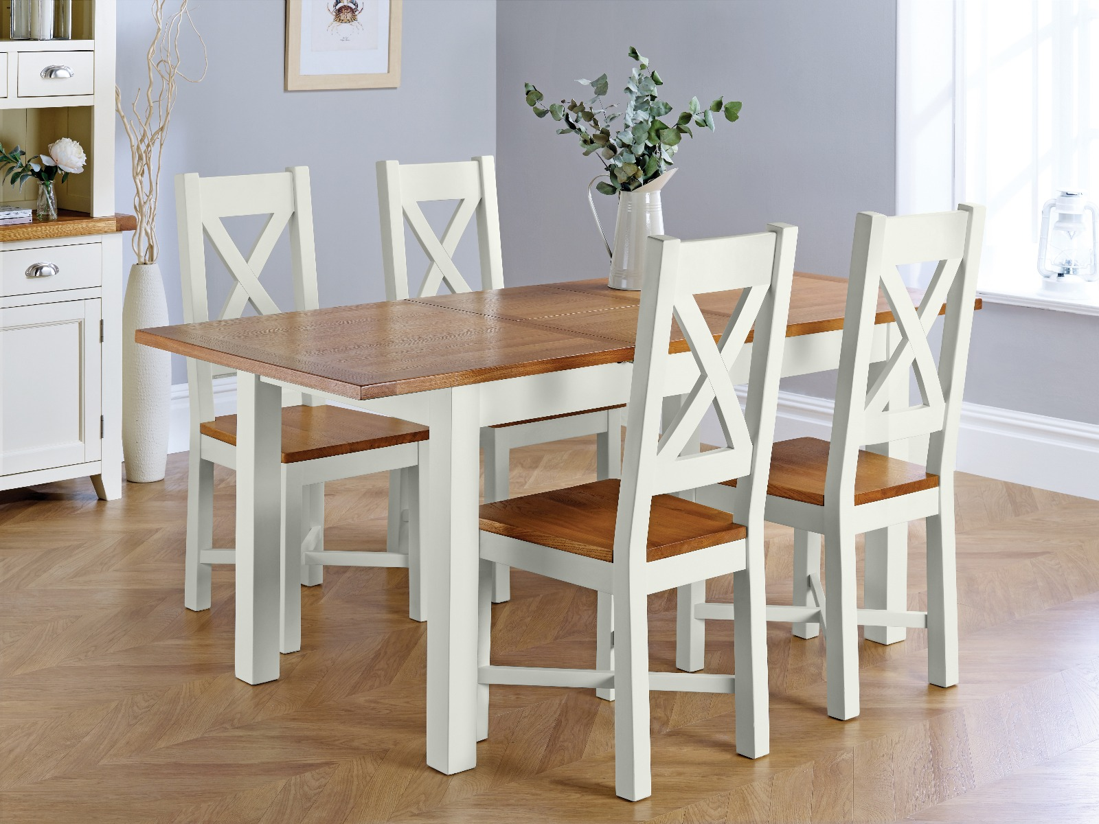 Country Oak 180cm Grey Painted Extending Dining Table 4 Grasmere Grey Painted Chairs