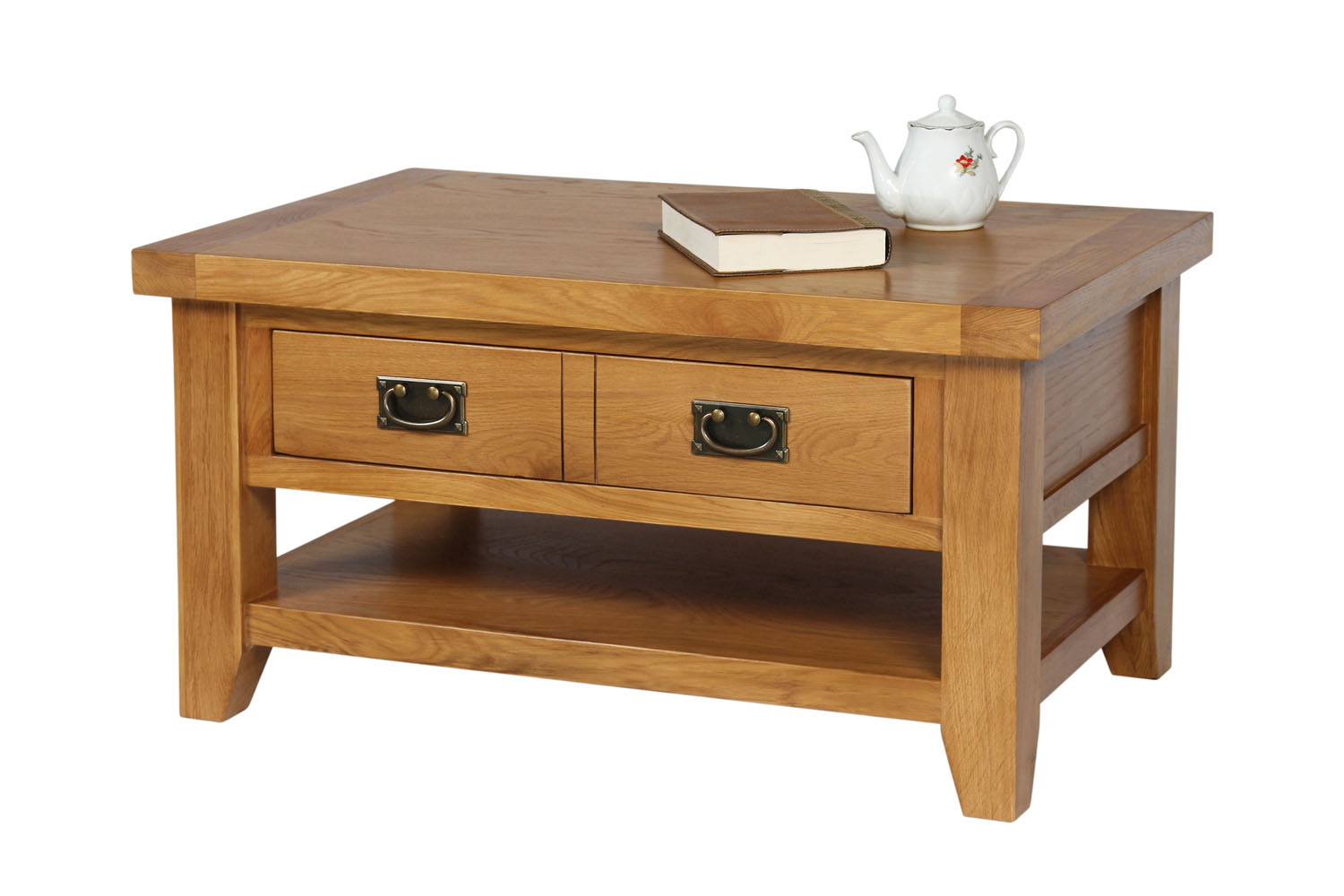Country Oak Coffee Table With Drawer Shelf Free Delivery Top