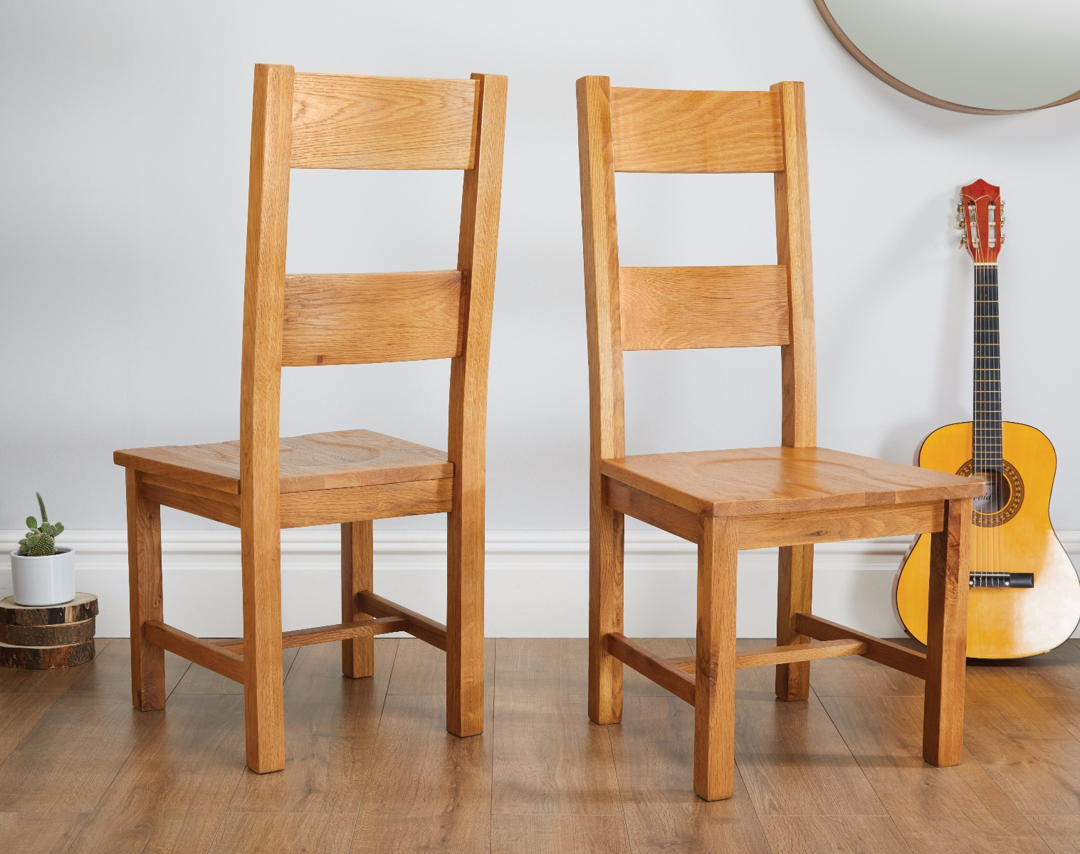 low cost a52fe 94386 Chester Country Oak Ladder Back Timber Seat Oak Dining Chairs