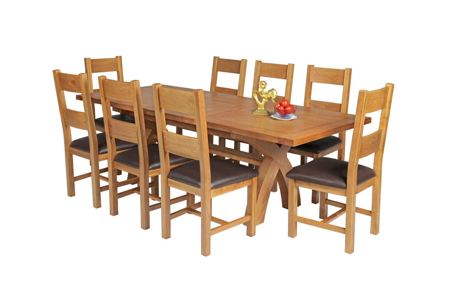 Country Oak 230cm Cross Leg Square Table 8 Chester Brown Leather Chairs