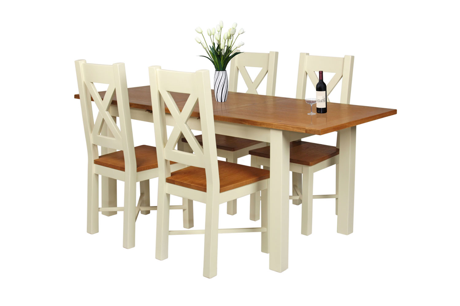 Country Oak 180cm Cream Painted Extending Dining Table & 4 Grasmere ...