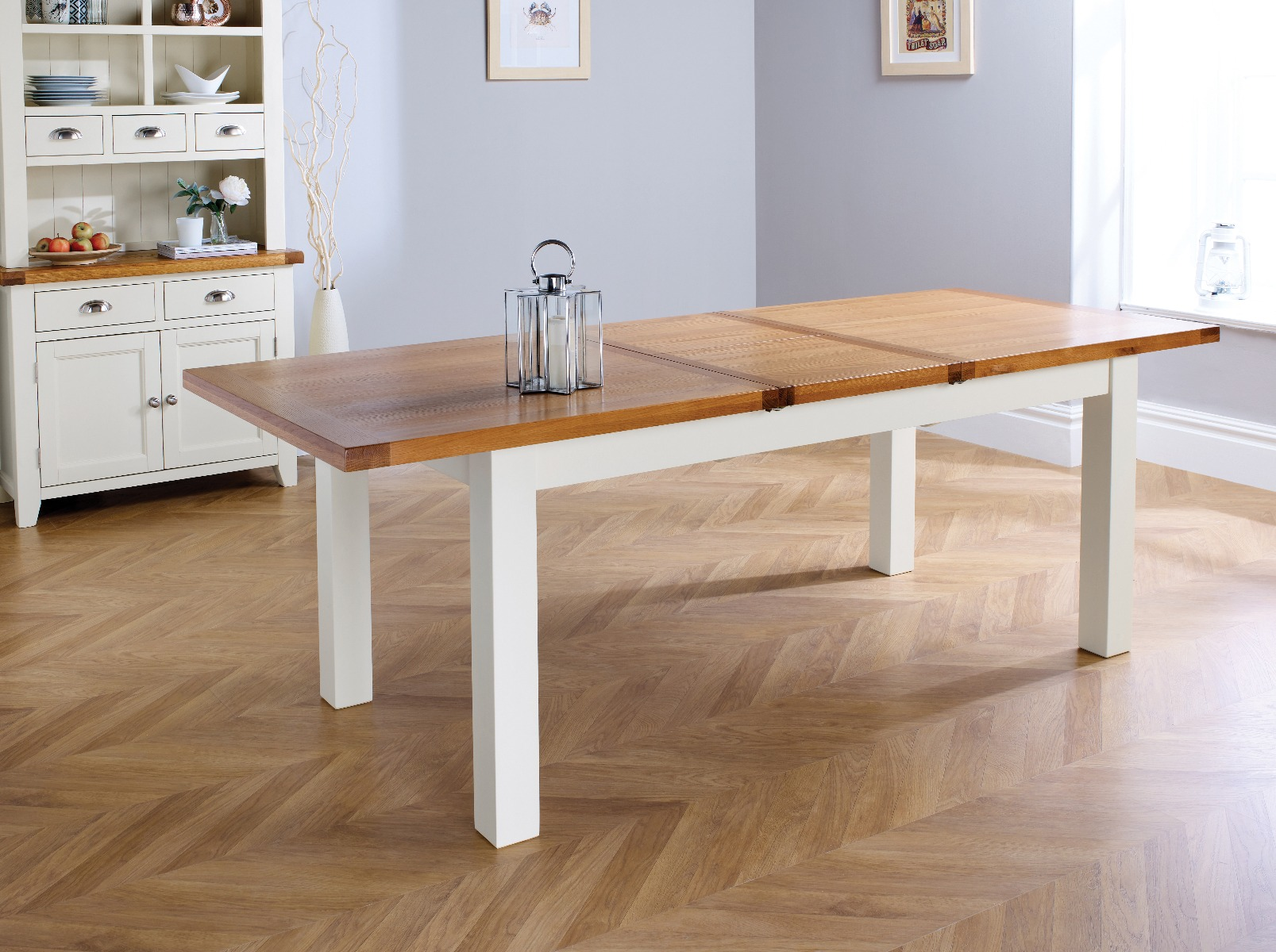 Country Oak 230cm Grey Painted Extending Dining Table U0026 8 Grasmere Grey  Painted Chairs