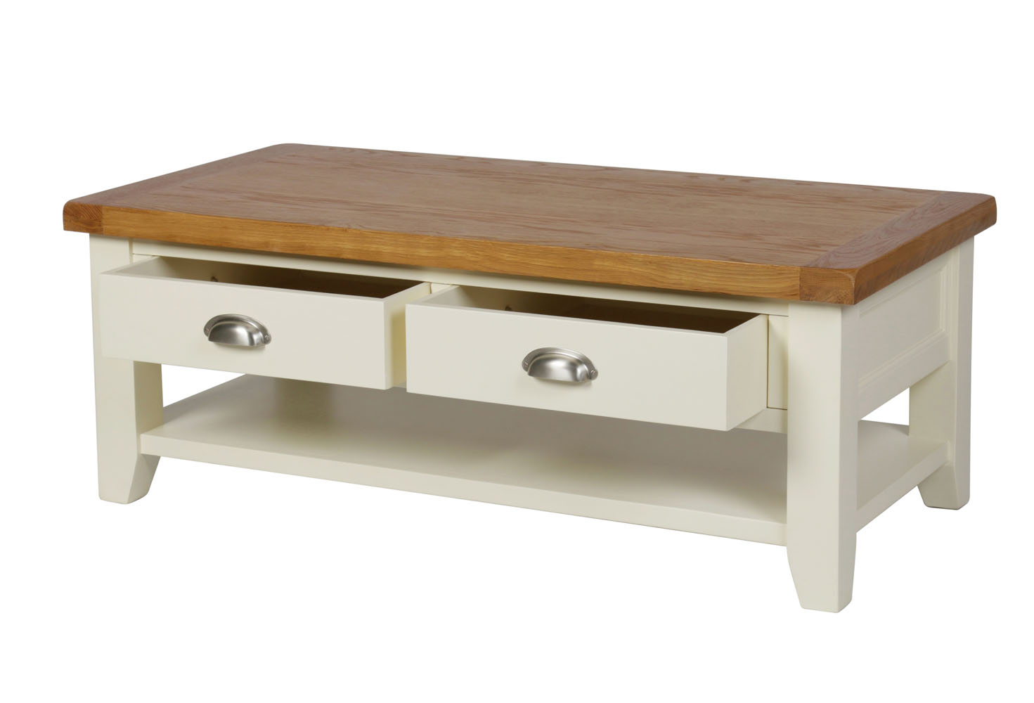 Country Oak Cream Painted Large Drawer Coffee Table With Shelf - Coffee table with drawers and shelf