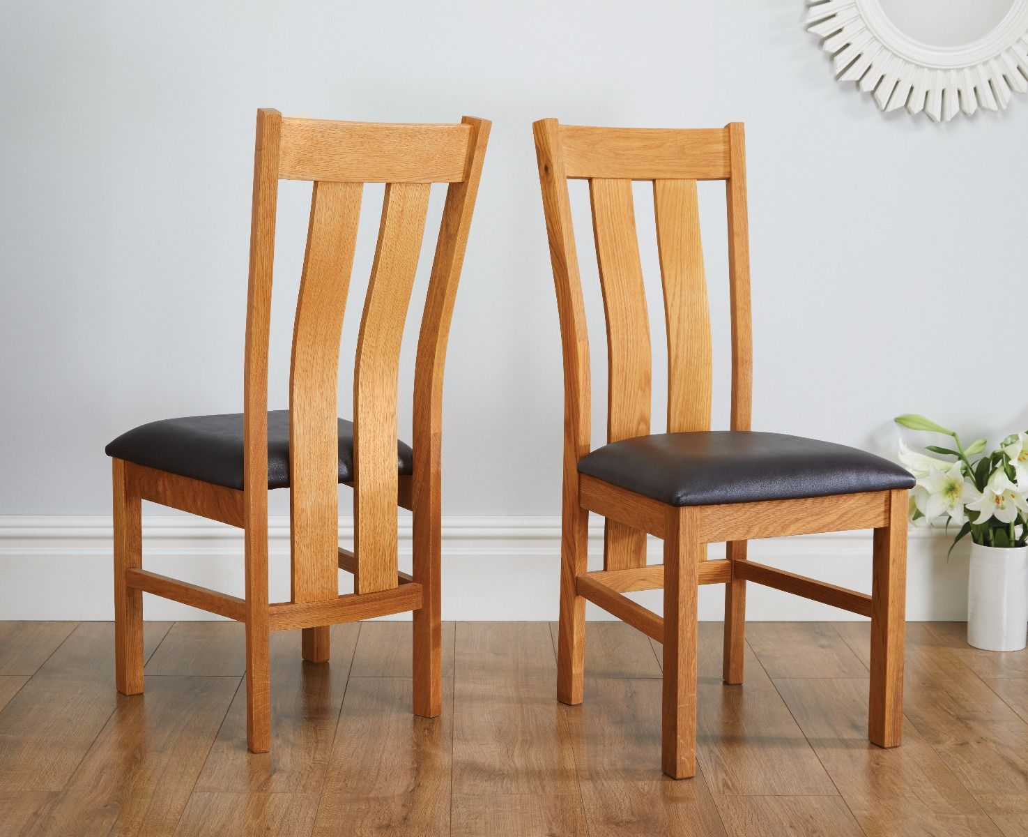 Churchill oak chairs dark brown leather seat pads