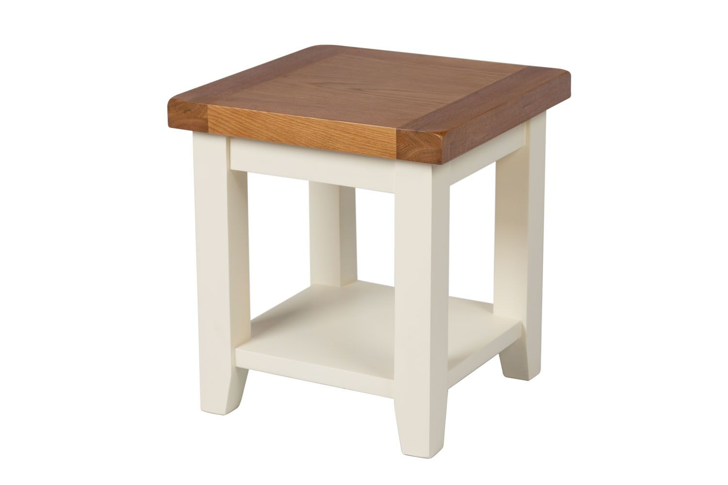 Country cottage cream painted oak lamp table with shelf aloadofball Choice Image