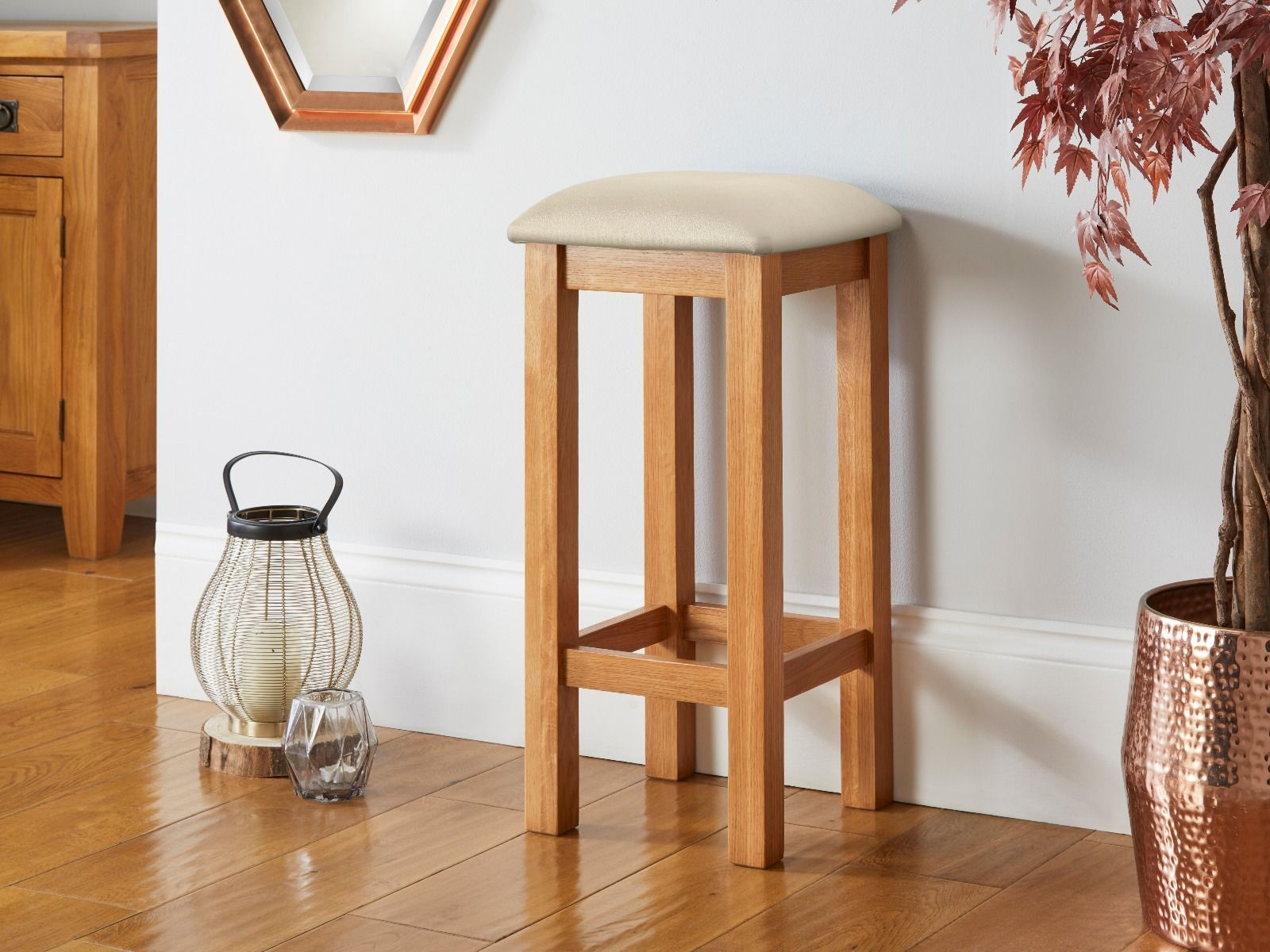 Baltic Solid Oak Cream Leather Small Kitchen Bar Stool   AUGUST MEGA DEAL
