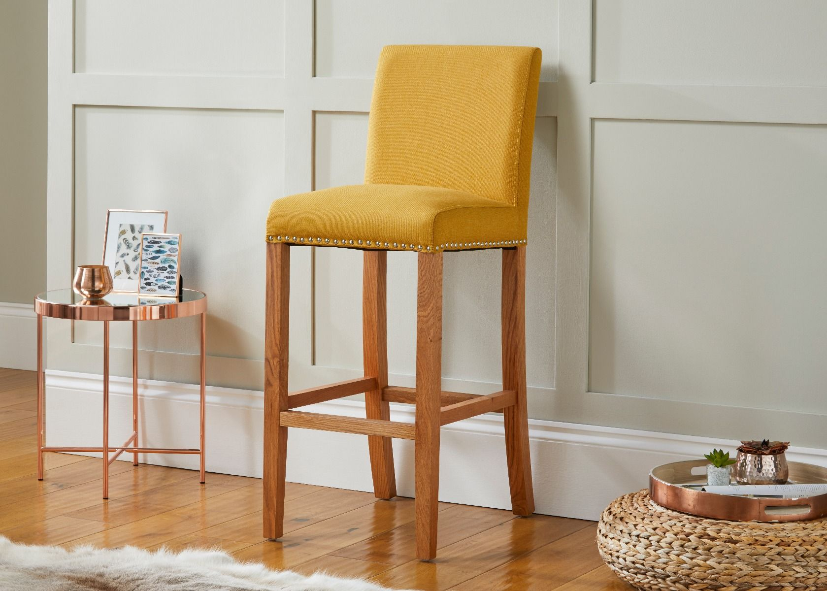 Buckingham Mustard Yellow Linen Oak Kitchen Stool