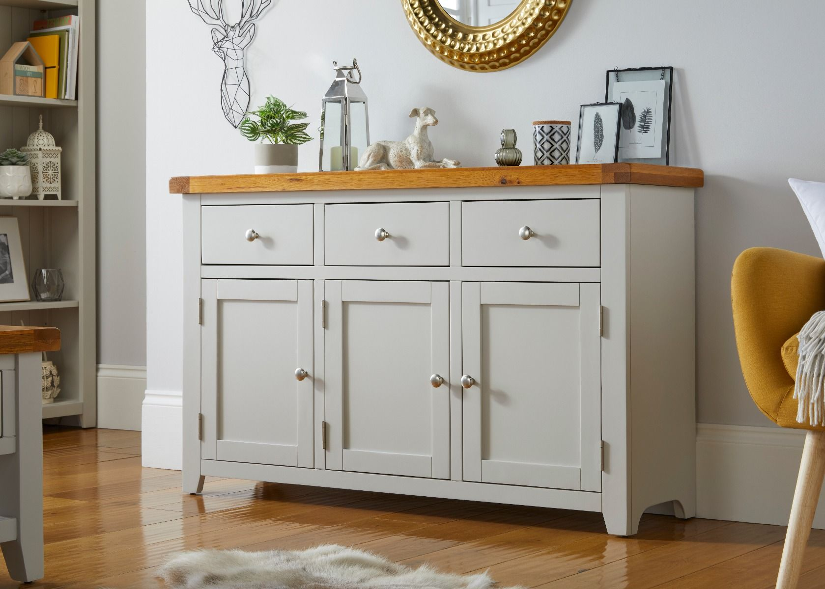 Cheshire Grey Painted 130cm Large Oak Sideboard Fully Assembled