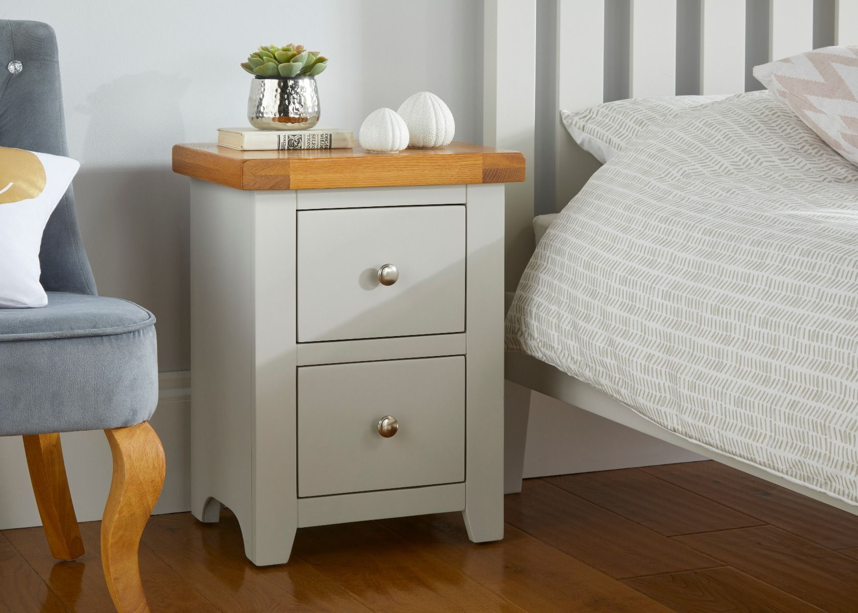 Cheshire Grey Painted Oak Bedside Table 2 Drawers Free Delivery Top Furniture
