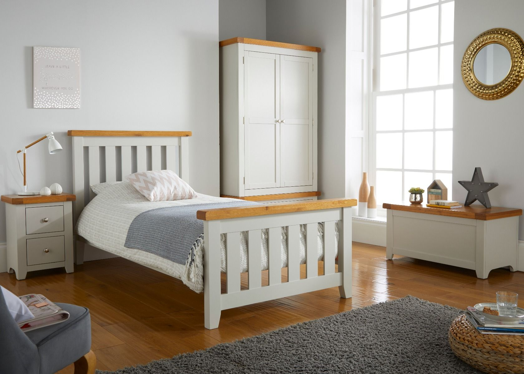 Cheshire Grey Painted 3 Foot Childrens Oak Slatted Bed Free Delivery Top Furniture
