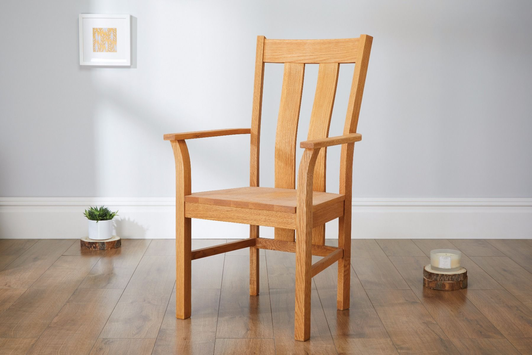 Churchill Solid Oak Carver Dining Chair With Arm Rests