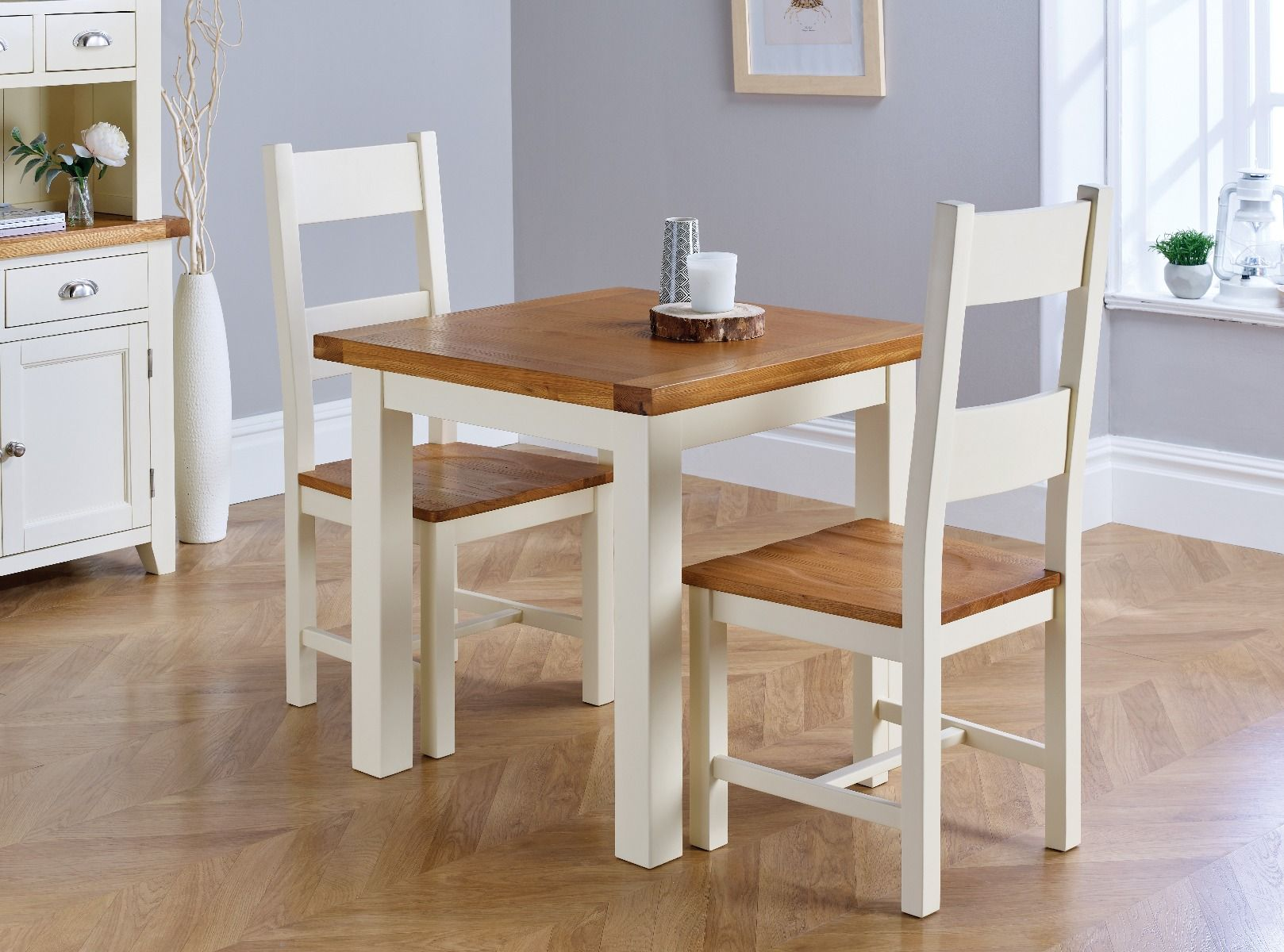 Country Oak 80cm Cream Oak Table Pair Of Matching Cream Oak Chairs Compact Dining Set