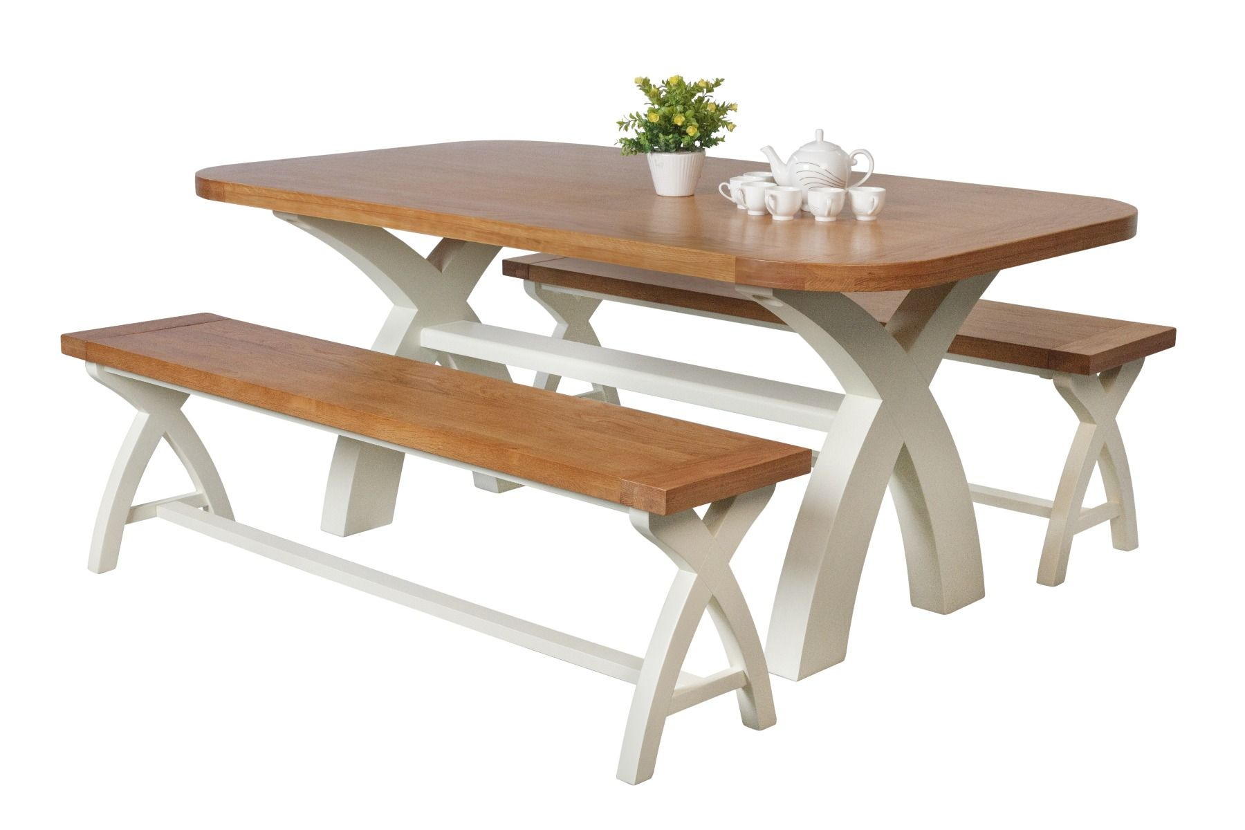 Country Oak 9cm cream painted dining table pair 9cm cross leg benches    AUTUMN SALE