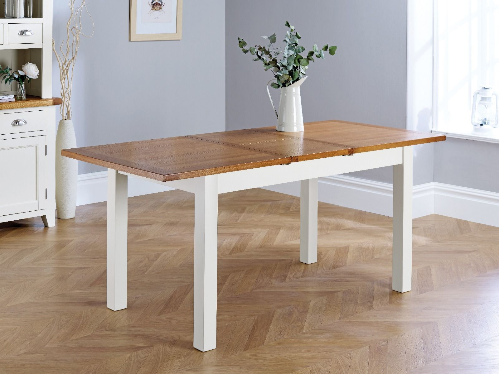 Country Oak Grey Painted 9cm Extendable Dining Table   SEPTEMBER MEGA DEAL