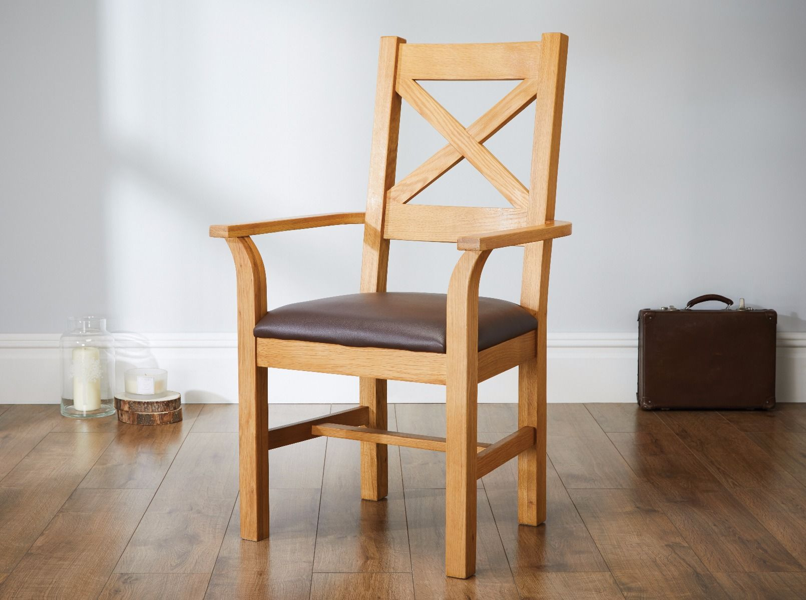 Picture of: Windermere Cross Back Oak Carver Chair With Brown Leather Seat