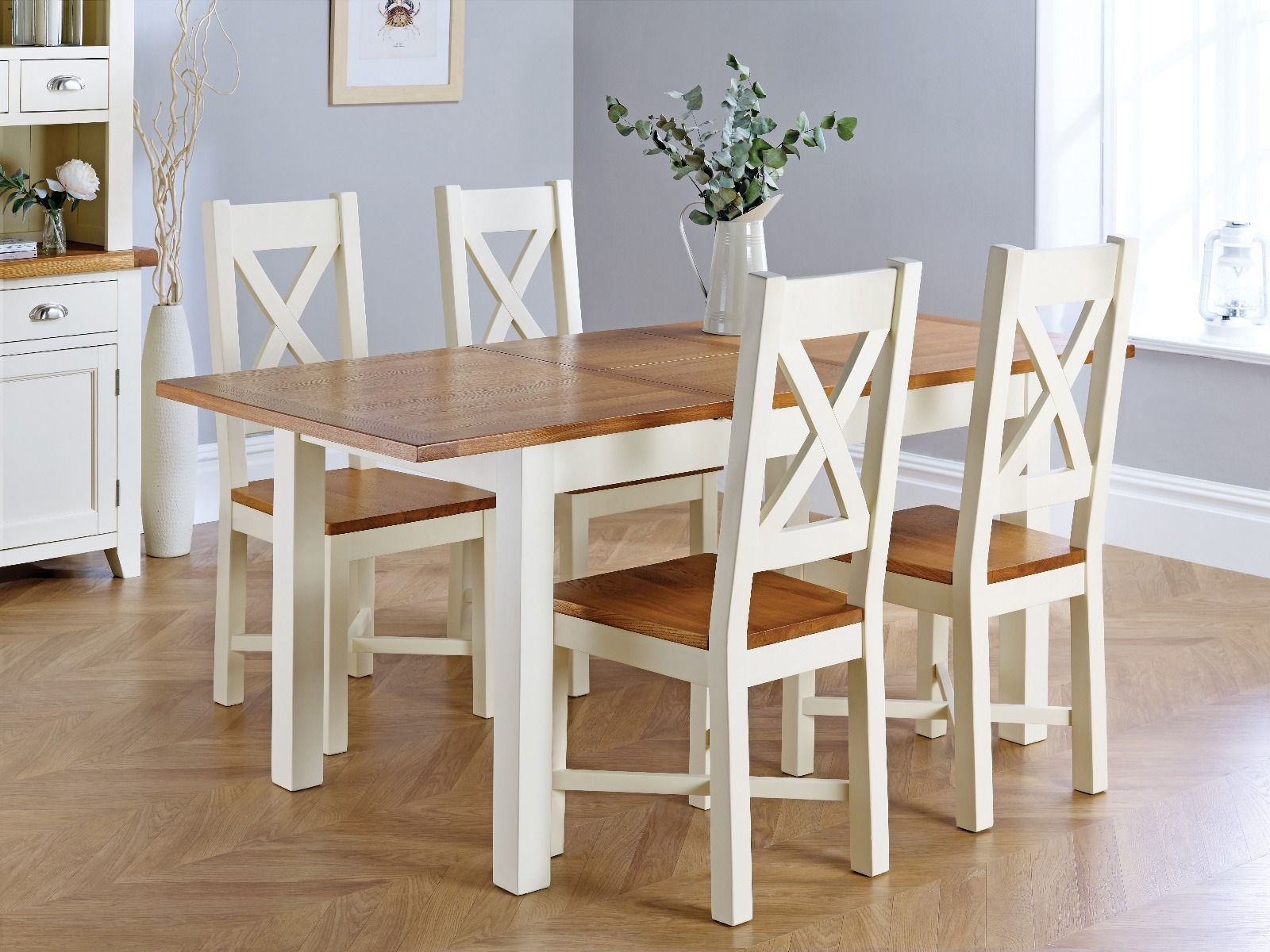 Country Oak 9cm Cream Painted Extending Dining Table and 9 Grasmere Cream  Painted Chairs   AUTUMN SALE