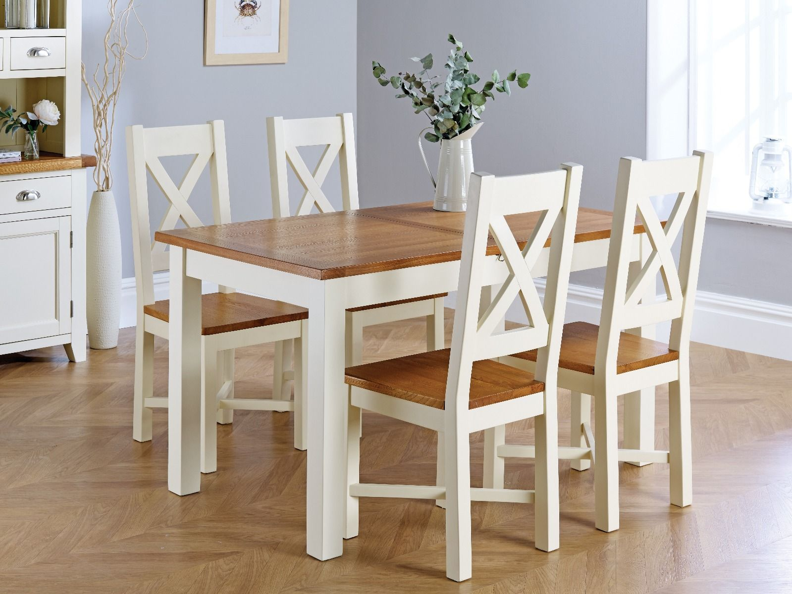 Country Oak 9cm Cream Painted Extending Dining Table and 9 Grasmere Cream  Painted Chairs   SUMMER SALE