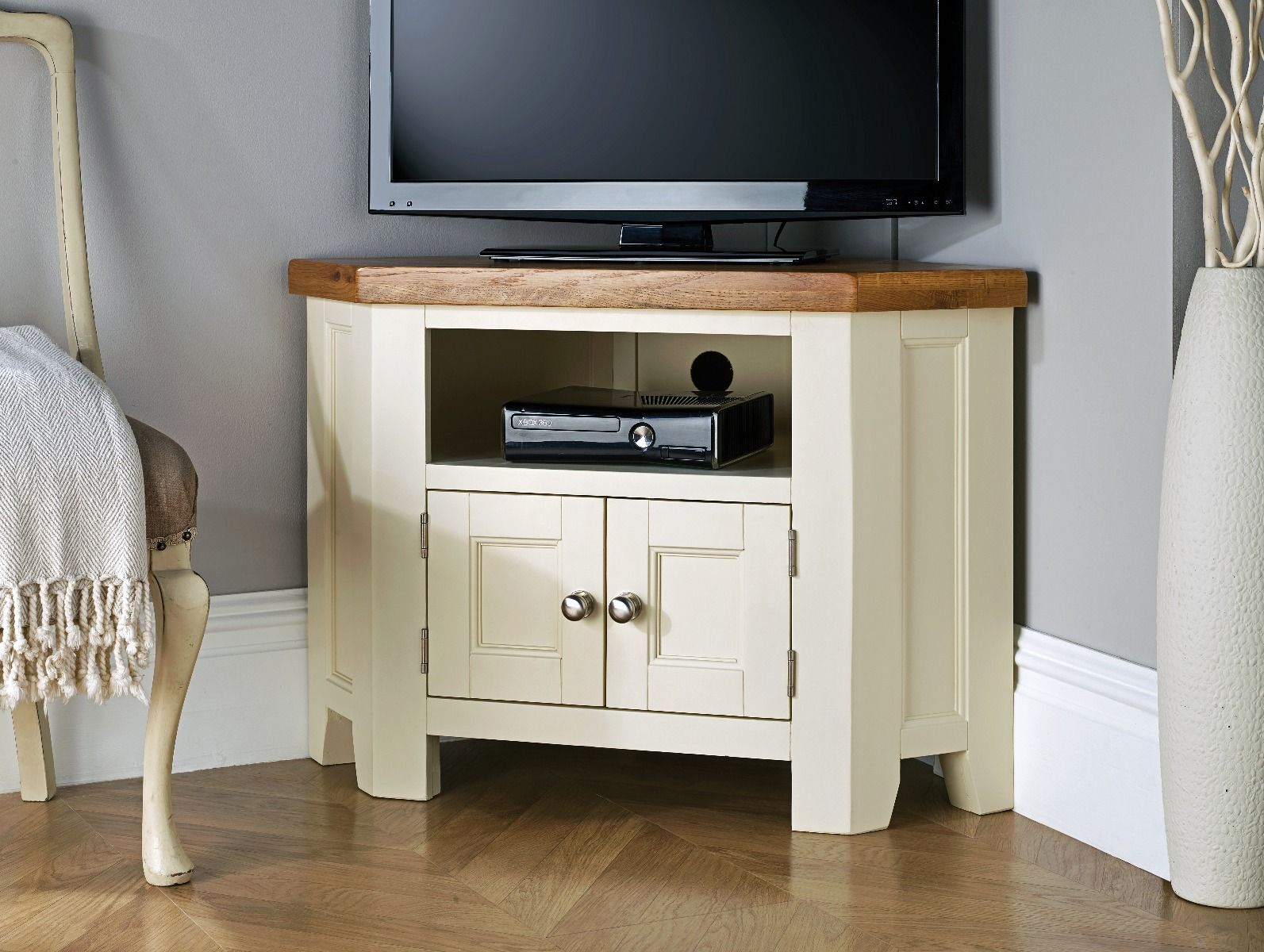 Country Oak Cream Painted 2 Door Corner Tv Unit
