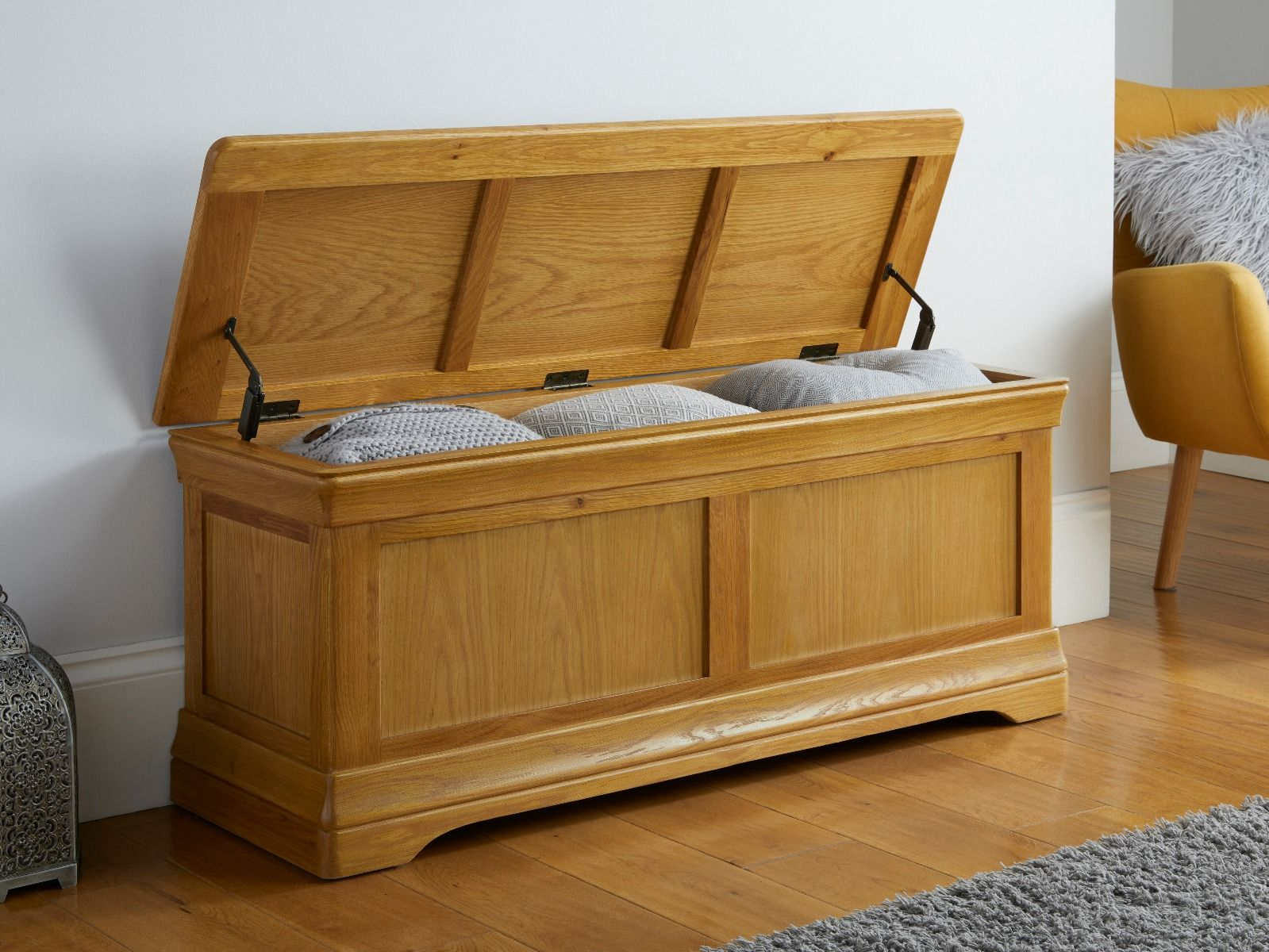 Large Oak Blanket Box Farmhouse Free Delivery Top Furniture