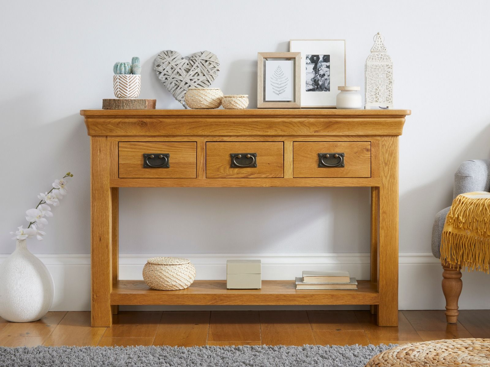 Picture of: Farmhouse Oak 3 Drawer Large Console Table Hallway Storage Fully Assembled