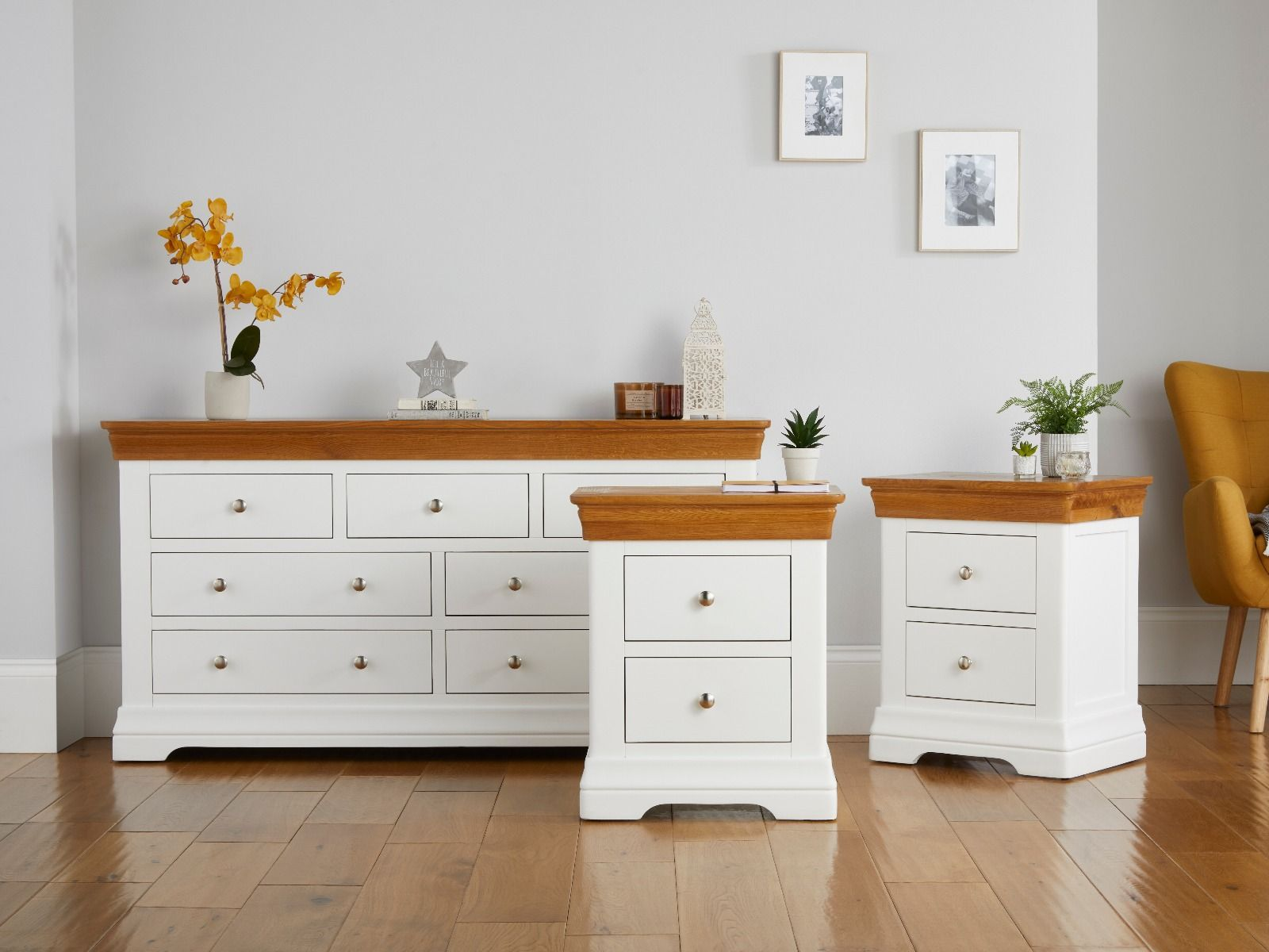 Farmhouse White Painted Oak Chest Of Drawers And Pair Of Bedside Tables