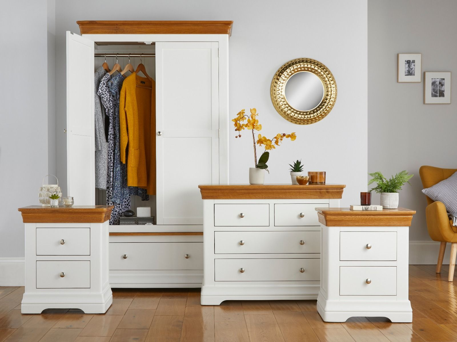 Farmhouse White Painted Oak Bedroom Set, Wardrobe, Chest of Drawers and  Pair of Bedside Tables - WINTER SALE