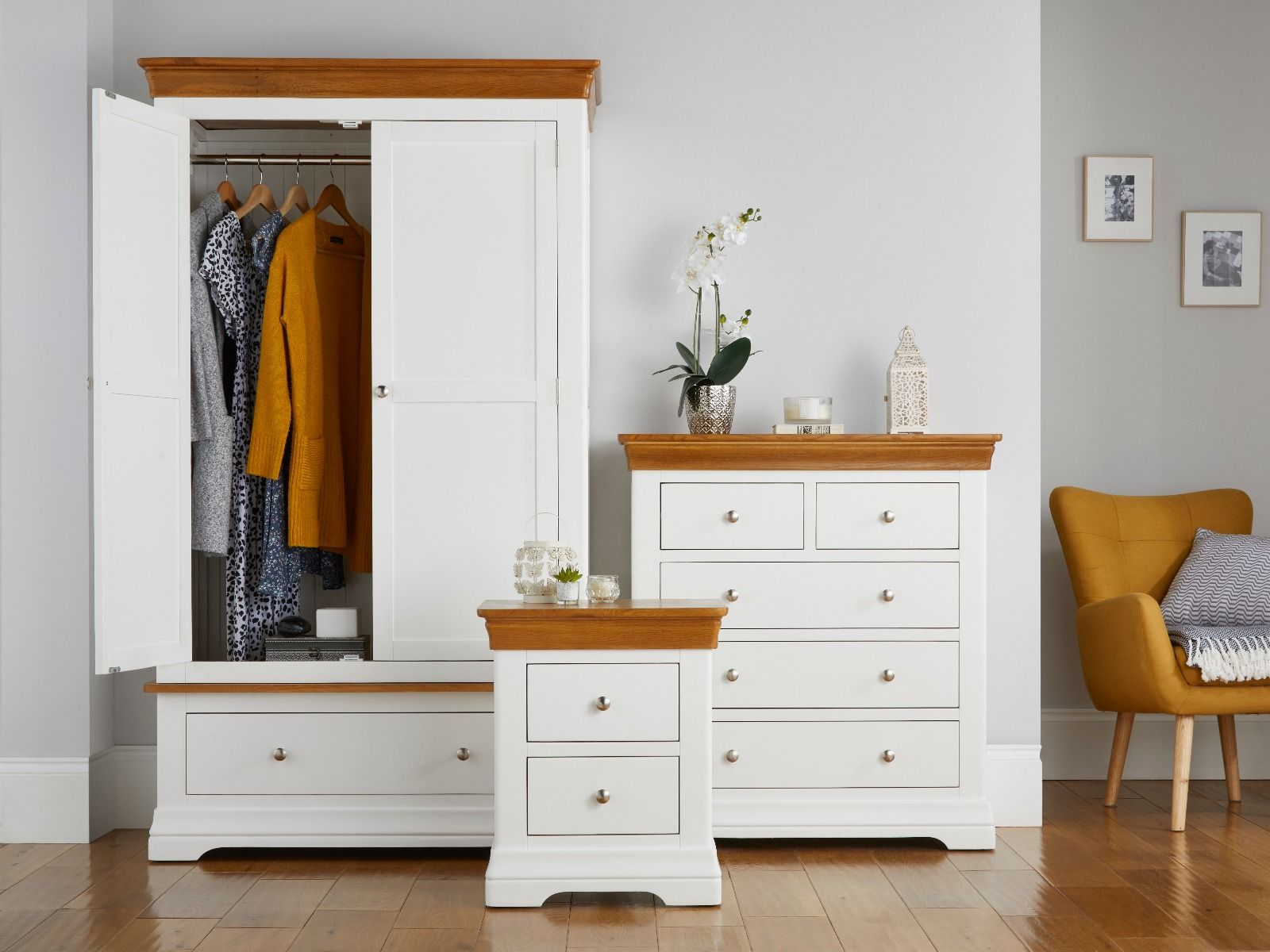 Farmhouse White Painted Oak Bedroom Set Wardrobe Chest Of Drawers And Bedside Table