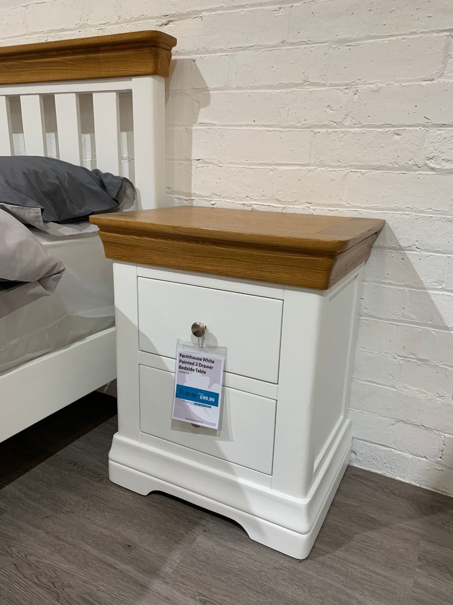Farmhouse White Painted Oak 2 Drawer Bedside Table Free Delivery Top Furniture