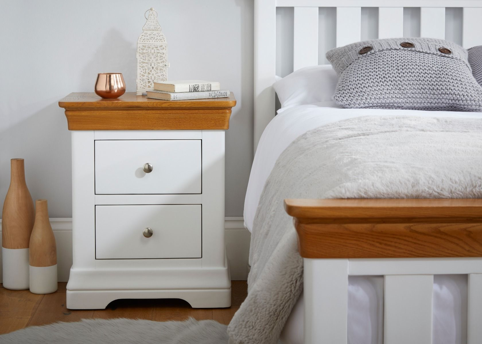 Picture of: Farmhouse White Painted Oak 2 Drawer Bedside Table Free Delivery Top Furniture