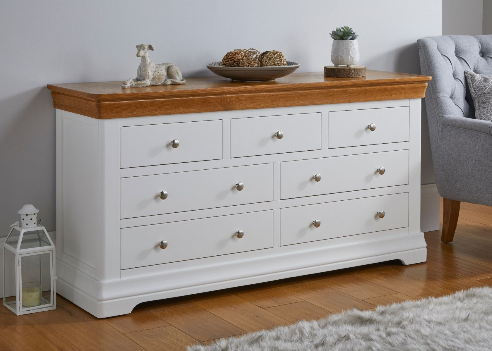 Farmhouse White Painted 3 Over 4 Oak Chest Of Drawers Free Delivery Top Furniture