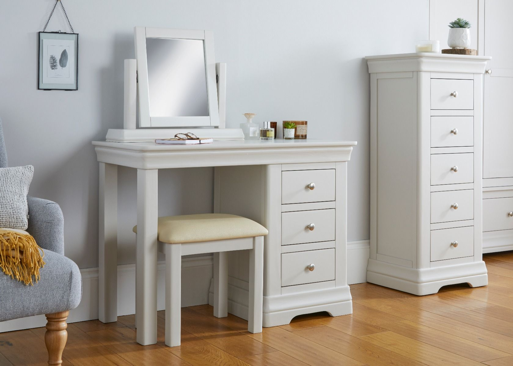 Toulouse Grey Painted Single Pedestal Dressing Table Set