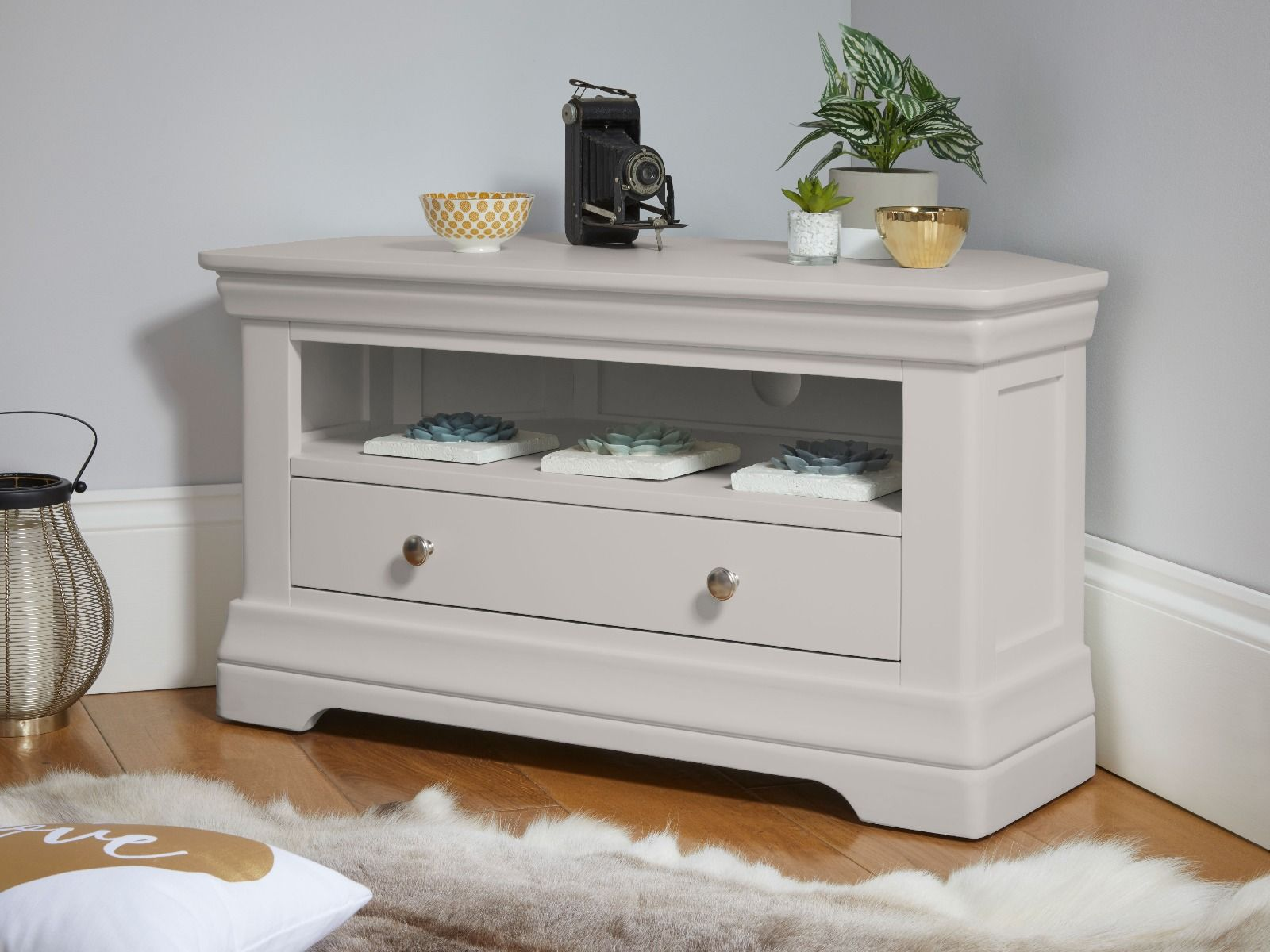 Toulouse Grey Painted Corner Tv Unit With Drawer Fully Assembled