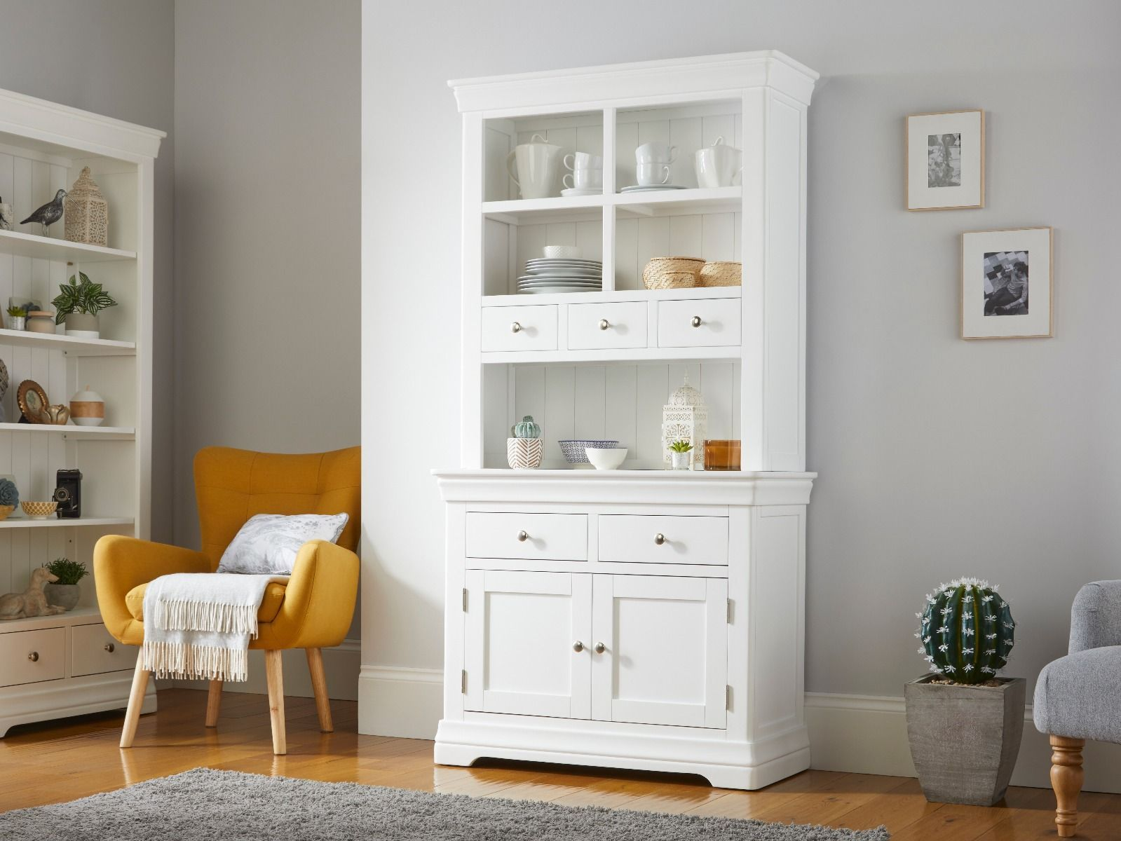 Picture of: Toulouse Grey Painted Tall Buffet And Hutch 100cm Dresser Display Unit Fully Assembled