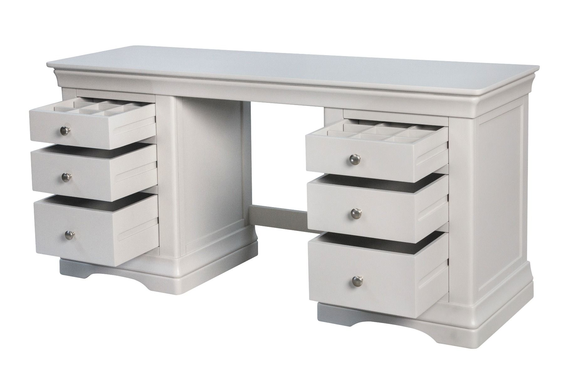 Toulouse Double Pedestal Grey Painted Large Dressing Table Desk Fully Assembled