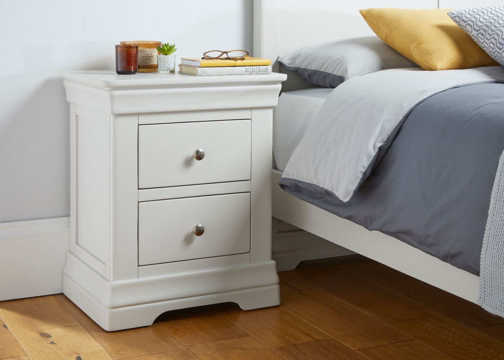 Toulouse Grey Painted 2 Drawer Bedside Table Fully Assembled