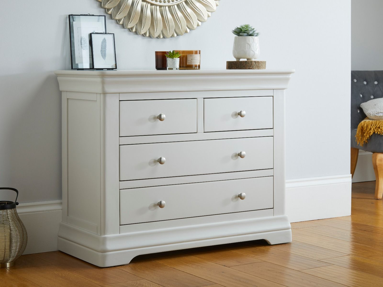 Toulouse Grey Painted 2 Over 2 Chest Of Drawers Fast Free Delivery Top Furniture