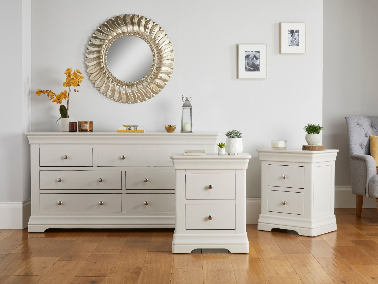 Bedroom Set Toulouse Grey 3 Over 4 Drawers And Pair Of Bedside Tables