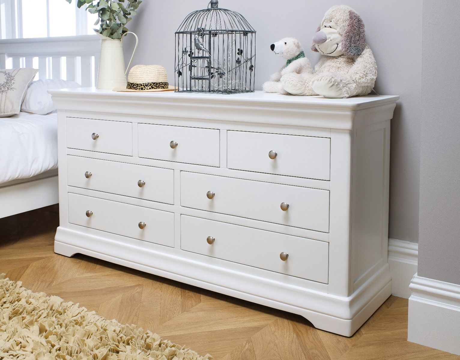Toulouse White Painted Large 3 Over 4 Chest Of Drawers Free