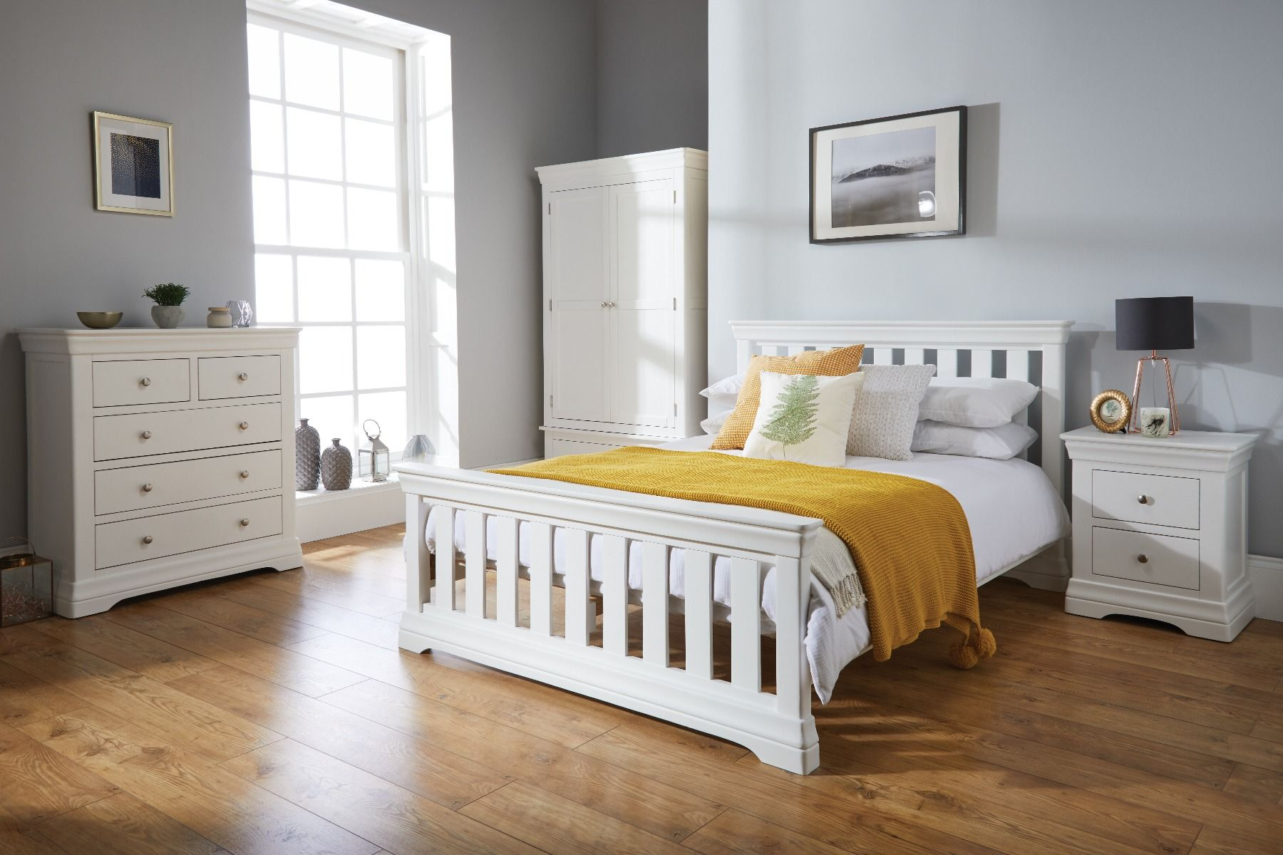 Toulouse White Painted 6 foot 6 inches Slatted Double Bed - AUTUMN SALE