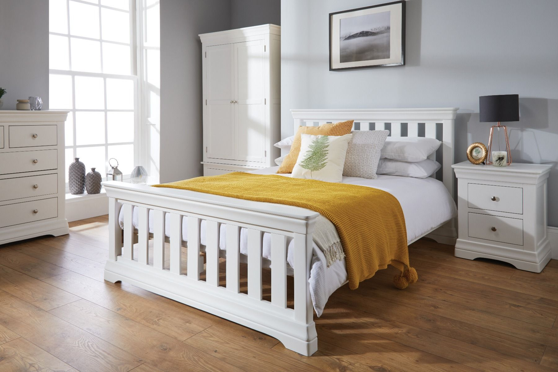 Toulouse White Painted 5 Foot King Size Slatted Bed Free Delivery Top Furniture
