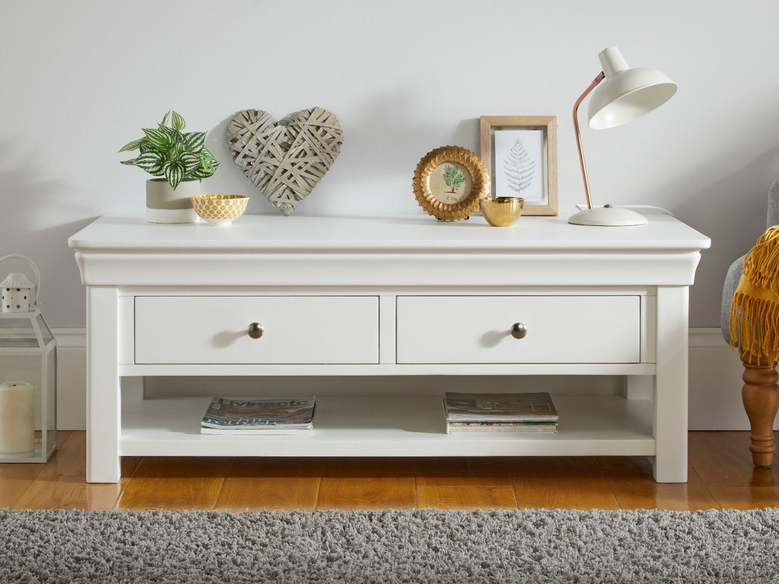 Toulouse White Painted Large Coffee Table 4 Drawers With Shelf Assembled