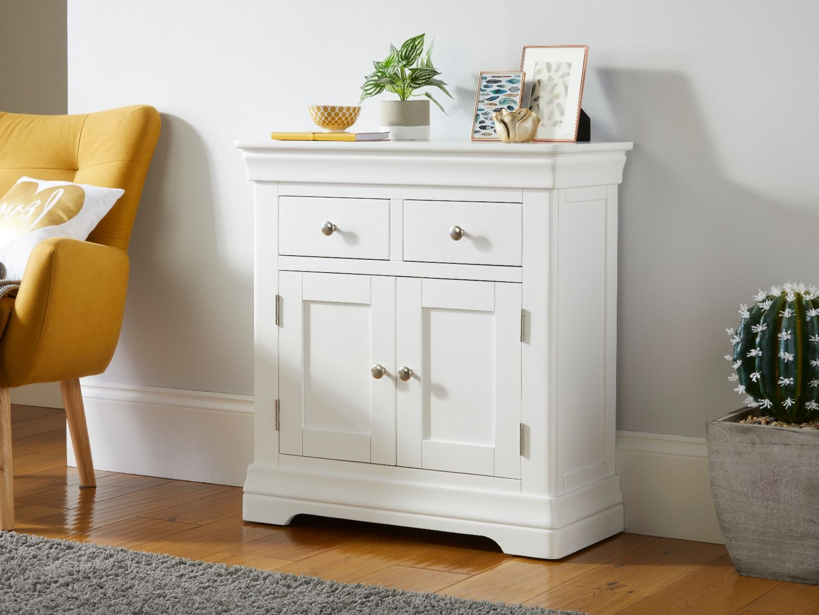 Picture of: Toulouse White Painted 80cm Small Sideboard Fully Assembled