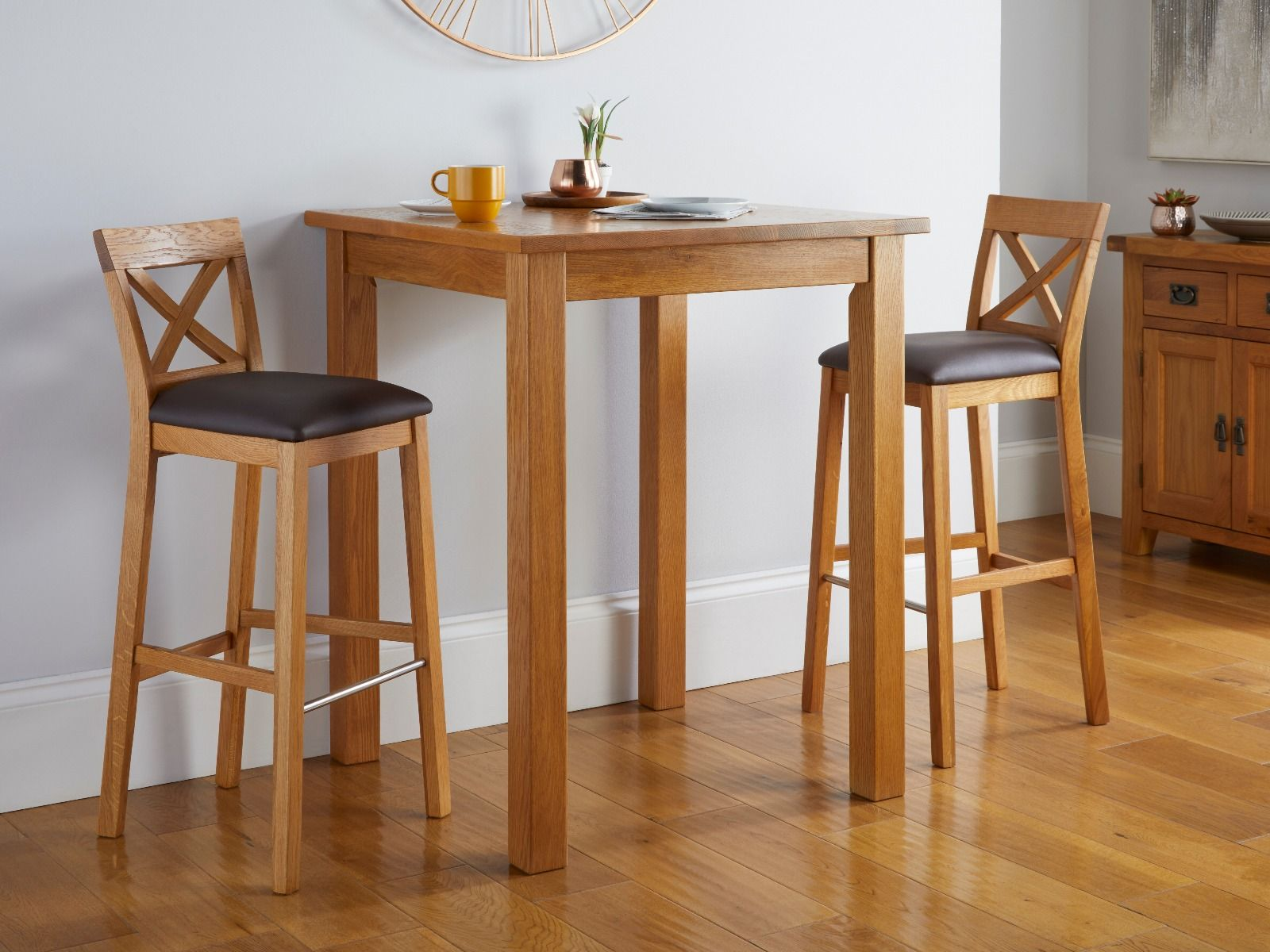 Picture of: Country Oak Tall Breakfast Bar Table 80cm Square