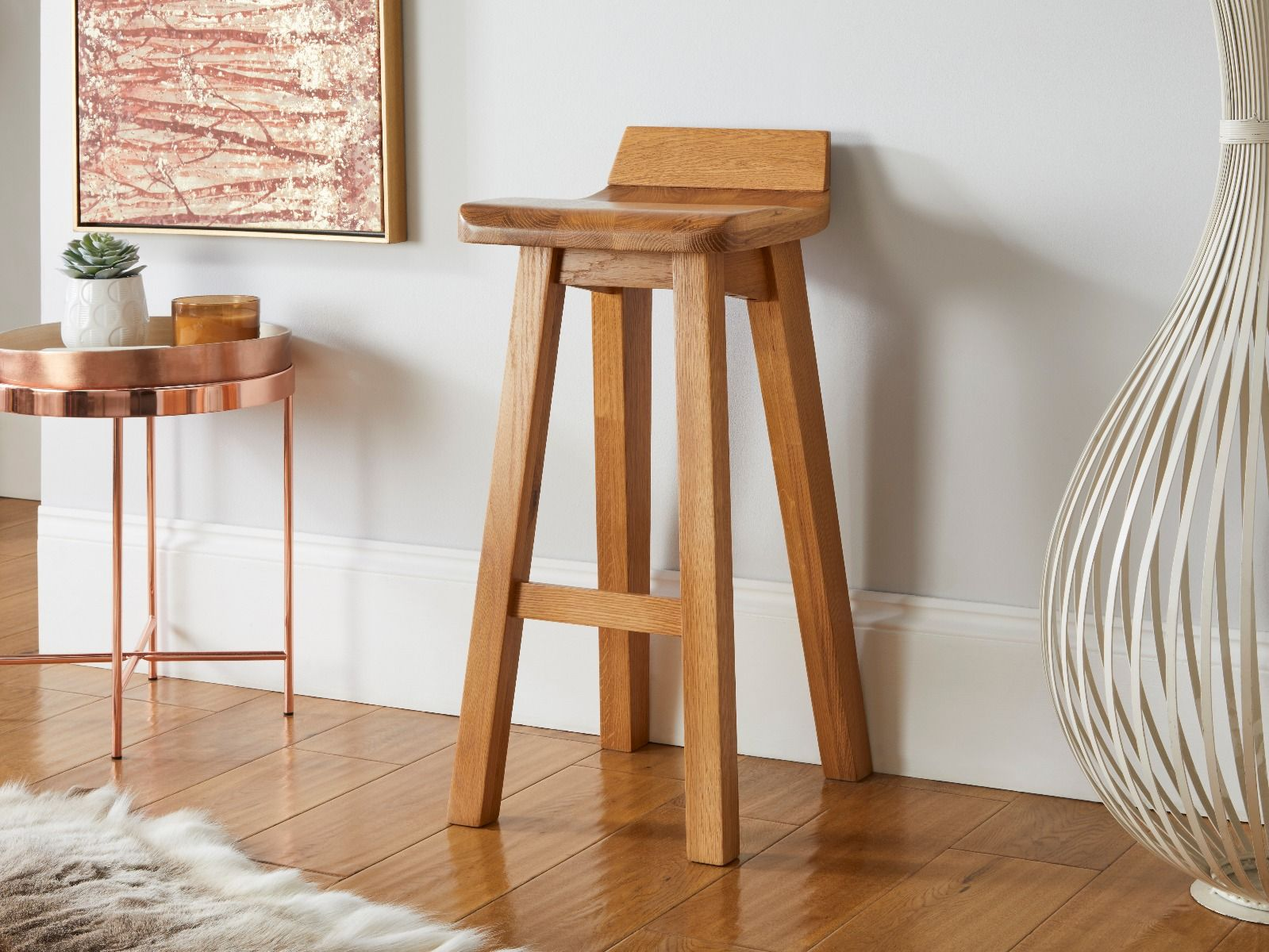 Picture of: Solid Oak Contemporary Bar Stool Wave Free Delivery Top Furniture