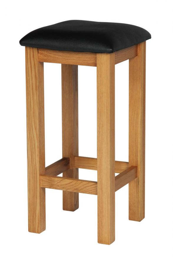 Fantastic Baltic Solid Oak Kitchen Bar Stool Black Leather Pdpeps Interior Chair Design Pdpepsorg