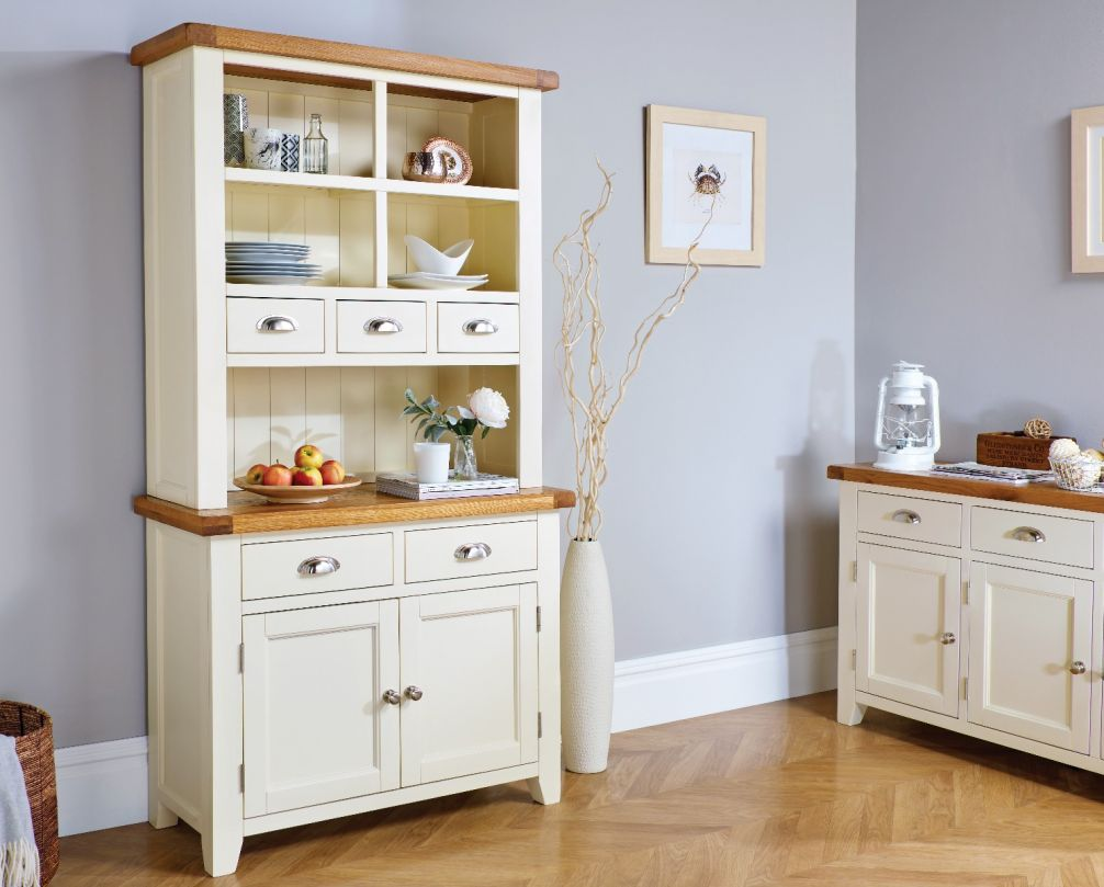 Admirable Country Cottage Cream Painted 100Cm Buffet And Hutch Dresser Display Unit Summer Sale Home Interior And Landscaping Analalmasignezvosmurscom