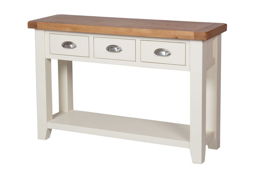 Pleasing Country Cottage Cream Painted 3 Drawer Console Tables Interior Design Ideas Oxytryabchikinfo